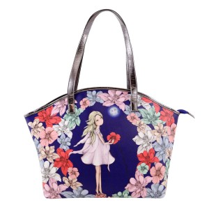 Curved Shopper Bag - Mirabelle - Midnight Garden